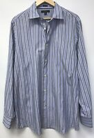 Banana Republic Mens Size XL Shirt Blue Gray Striped Slim Fit