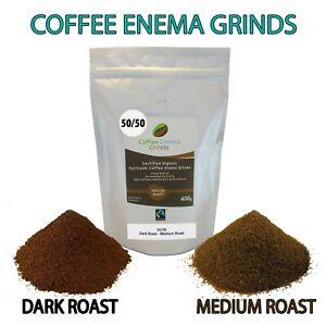 COFFEE ENEMA GRINDS 400g 50/50 DARK MEDIUM GERSON AIR ROASTED ORGANIC FAIRTRADE