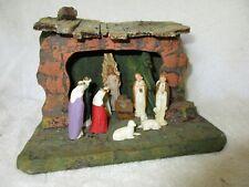 Vintage Italian Wooden Christmas Nativity Scene w/Light Holiday Decorations