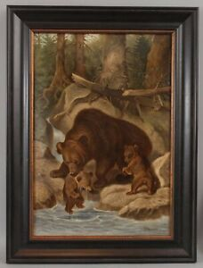 Antique Signed American Western Grizzly Mama Bear & Cubs Landscape Oil Painting