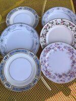 6 Vtg Mismatched China  Dessert Cake Bread or lunch Plates ~Pastels floral bands
