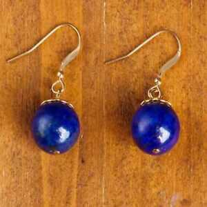 Natural lapis lazuli earrings gold yellow Party vintage style Women Thanksgiving