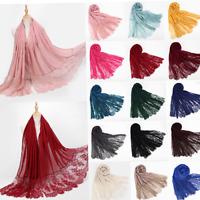 Fashion Lace Scarf Hijab Women Maxi Shawl Wrap Flower Soft Cotton Muslim Scarves