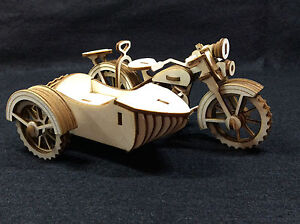 Laser Cut Wooden Motorcycle and Sidecar 3D Model/Puzzle Kit