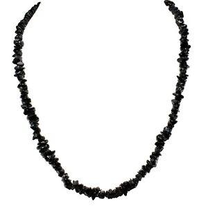 "CHARGED  Himalayan Black Tourmaline 18"" Necklace + Selenite Pocket Puffy Heart"