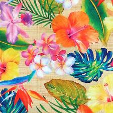 Robert Kaufman ISLAND SANCTUARY Tropical Floral Hibiscus Flower Fabric - Natural