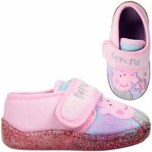 GIRLS NEW PEPPA PIG SLIPPERS PINK UNICORN TOUCH FASTENING HOUSE SHOES SIZE 5 -10
