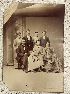 Original Antique 1800's Tintype Photo Family / Group