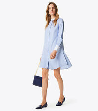 Tory Burch Cora Cotton ShirtDress 10 L Tunic Blue White Stripe Pinstripe Dress