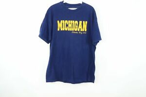 Vintage 80s Mens XL University of Michigan Scholars Day Spell Out T Shirt Blue