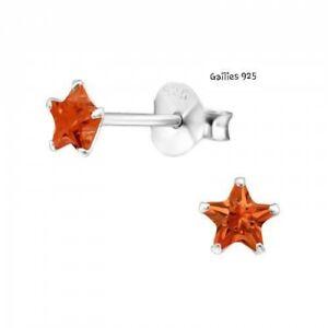 Mädchen Damen 925 Sterlingsilber 4mm Star Orange Cubic Zirkonia Nieten - Tasche