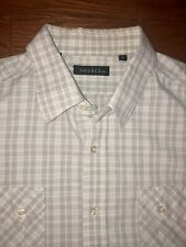 Mens SOURCE DNM White Gray Checked Plaid Collared Button Down Dress Shirt LARGE