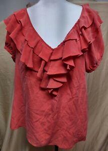 Joie Orange Silk Ruffle Blouse Top Drawstring Shirt Medium