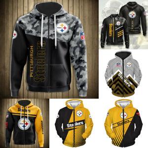 Pittsburgh Steelers Hoodie Full Zip Hooded Sweatshirt Football Fans Jacket Gift