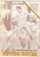 Sutton United v Dulwich Hamlet 1984/5 (23 Mar) Isthmian League