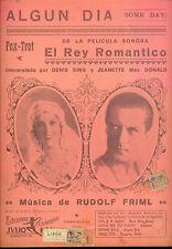 "VAGABOND KING Sheet Music ""Some Day"" Jeanette MacDonald Dennis King ARGENTINA"