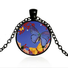 Altered Art Butterfly Black Dome glass Art Photo Chain Pendant Necklace