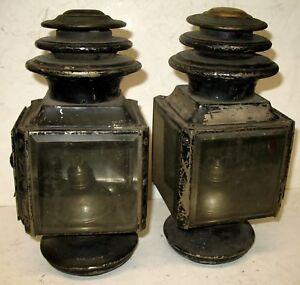 PAIR ADLAKE BRASS 3 TIER SIDE LAMPS PIERCE ARROW LOCOMOBILE FIAT MODEL T FORD