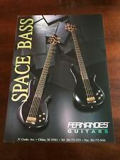 1991 VINTAGE 8X11 PRINT AD FOR FERNANDES Guitars SPACE BASS ADVERTISEMENT