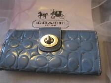 Coach Turnlock  Sky Blue Embossed Patent Leather Slim Envelope Wallet