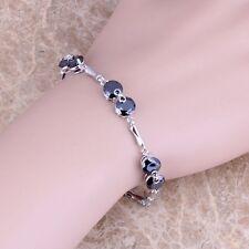 Fabulous Black Onyx Silver Link Chain Bracelet 7 - 8 inch For Women S0260