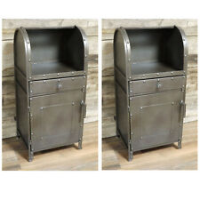 Set Of 2 Grey Metal Bedside Cabinets 1 Door 1 Drawer Storage Chests Lamp Tables