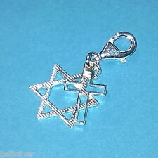 Messianic Star of David and Cross Two Charms Clip On Pendant Sterling Silver 925