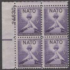 Scott # 1008 - Us Plate Block Of 4 - North Atlantic Treaty Organ. - Mnh - 1952