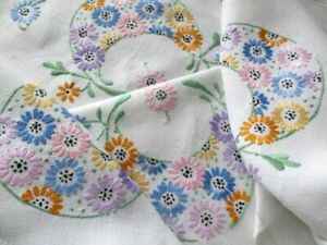 """Hand Embroidered Vintage Tablecloth-Colourful flowers-Linen-33""""sq."""