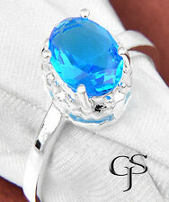 Topaz Silver Plated Oval Stone Costume Rings