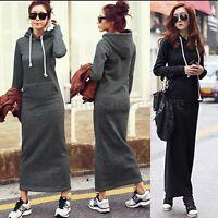 Fashion Ladies Long Sleeve Hoodies Outwear Cotton Velvet Bandage Long Maxi Dress