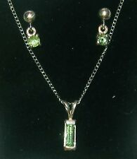 Tsavorite GARNET Set Earrings and emerald set pendant Gorgeous Irish Green