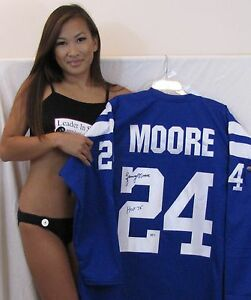 Lenny Moore signed blue jersey - Baltimore Colts - Hall of Fame 1975 - Ravens
