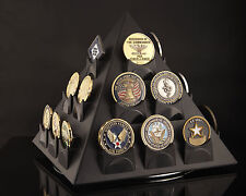 COIN DISPLAY FREE SHIPPING -Rotates! Challenge Coin & Poker Chip Display Holder