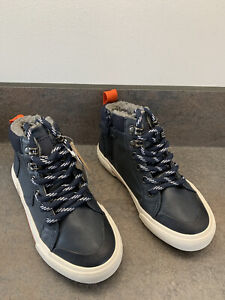 Next Boys Fur Lined Navy Blue Boots Converse Style Uk Size 10 New