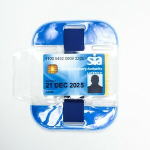 500 x Blue High Visibility Security SIA Doorman Bouncer Armband ID Badge Holder