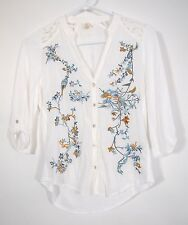 Anthropologie Tiny Womens White Floral Bird Embroidered 3/4 Sleeve Top Shirt XSP