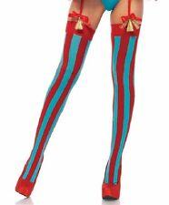 Sexy Red Blue Vertical Striped Thigh Highs Big Top Circus Clown Carnival Cutie