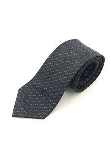 Allea Milano Tie, Pure Silk, Black, Geometric, Made in Italy, 8.5cm