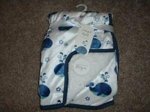 Colorful Nights Whale Baby Boy Blanket Minky Sherpa Fleece Whte Blue NWT RARE