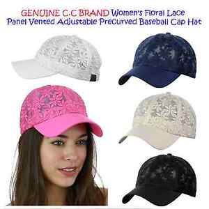 C.C Brand Women's Floral Lace Panel Vented Adjustable Precurved Baseball Cap Hat