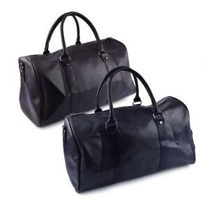 Mens Leather Luggage Gym Sport Bag Travel Shoulder Duffel Handbag Tote Bag mn