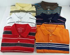 Faded Glory XL (46-48) Lot of 6 Men's Striped Pique Polo Shirts VGUC