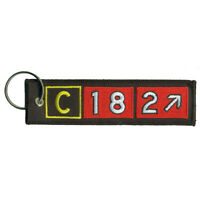 Cessna 182 Airport Taxiway Sign Embroidered Keychain. Aviation Airplane Gift.