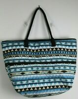 Quilted Shoulder Bag Tote Expandable Middle Extra Large Blue Brown Beige