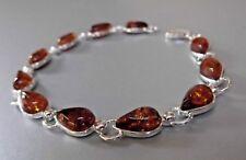 Natural Baltic Honey Amber Pear Gemstones in Sterling Silver 925 Linked Bracelet