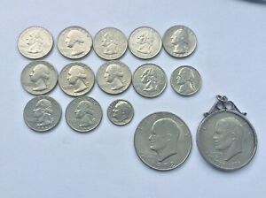 American  Quarter and Dollar Silver Coins a selection from 1965 (15)