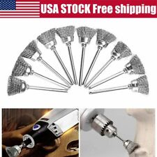 Drill Steel Wire Brushes Wheel Cup 6mm Screw Rod Cleaning Rust Sanding Hand Tool