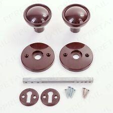 Full Kit 60mm Brown Plastic Rim Door Knob Set Mortice Latch Round Ball Style