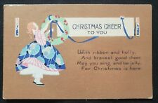 Vintage Christmas Card Postcard 1921 postmark